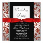 Fiesta de cumpleaños roja y negra del damasco de l invitación