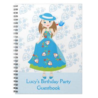 Fiesta de cumpleaños romántica del chica libros de apuntes