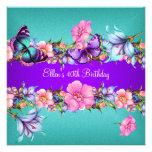 Fiesta de cumpleaños rosada azul púrpura de la mar comunicado