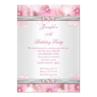 """Fiesta de cumpleaños rosada bonita de las flores invitación 5"""" x 7"""""""