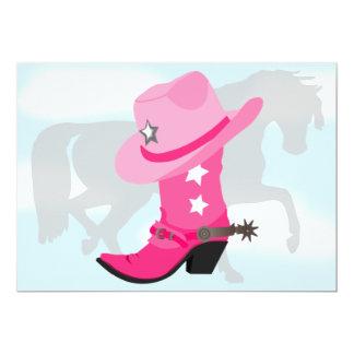 """Fiesta de cumpleaños rosada de la bota, del gorra invitación 5"""" x 7"""""""