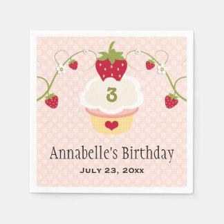 Fiesta de cumpleaños rosada de la magdalena de la servilletas desechables