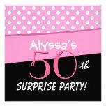 Fiesta de cumpleaños rosada de la sorpresa del lun invitacion personalizada
