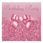 Fiesta de cumpleaños rosada de las lentejuelas, de comunicado personalizado