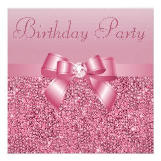 Fiesta de cumpleaños rosada de las lentejuelas de comunicado personalizado