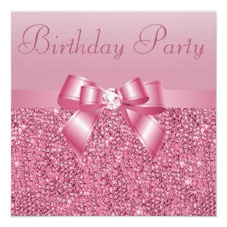 Fiesta de cumpleaños rosada de las lentejuelas, comunicado personalizado