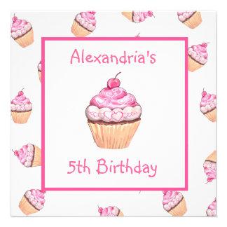 Fiesta de cumpleaños rosada de los chicas de las m comunicados personalizados
