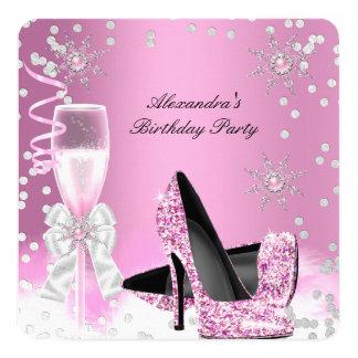"""Fiesta de cumpleaños rosada de los tacones altos invitación 5.25"""" x 5.25"""""""