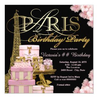 """Fiesta de cumpleaños rosada de París Invitación 5.25"""" X 5.25"""""""