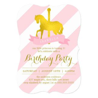"""Fiesta de cumpleaños rosada del caballo del invitación 5"""" x 7"""""""