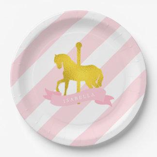 Fiesta de cumpleaños rosada del caballo del plato de papel de 9 pulgadas