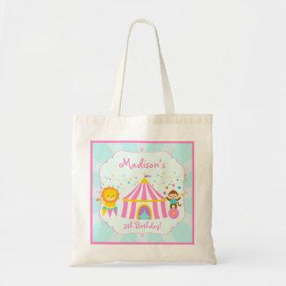 Fiesta de cumpleaños rosada del carnaval del circo bolsa tela barata