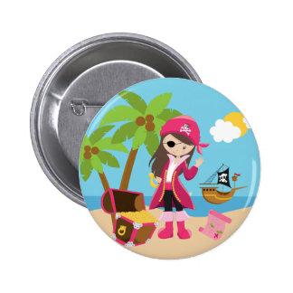 Fiesta de cumpleaños rosada del chica del pirata pin redondo de 2 pulgadas