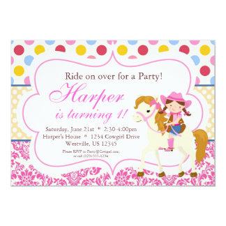 Fiesta de cumpleaños rosada del damasco y de la invitacion personal