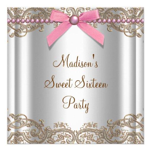 Fiesta de cumpleaños rosada del dulce 16 de Brown Comunicado Personal