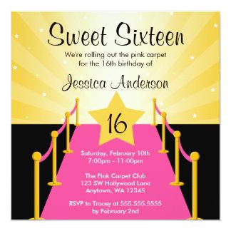 Fiesta de cumpleaños rosada del dulce 16 de invitación 13,3 cm x 13,3cm