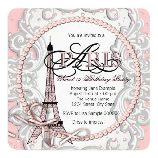 Fiesta de cumpleaños rosada del dulce 16 de París Invitación 13,3 Cm X 13,3cm