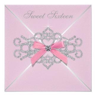 """Fiesta de cumpleaños rosada del dulce 16 del rosa invitación 5.25"""" x 5.25"""""""