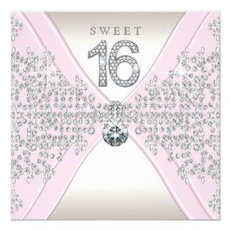 """Fiesta de cumpleaños rosada del dulce dieciséis de invitación 5.25"""" x 5.25"""""""