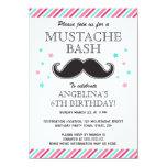 Fiesta de cumpleaños rosada del golpe del bigote anuncio