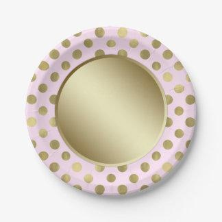 Fiesta de cumpleaños rosada del lunar del oro plato de papel de 7 pulgadas