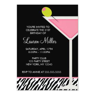 """Fiesta de cumpleaños rosada del modelo de Martini Invitación 5"""" X 7"""""""