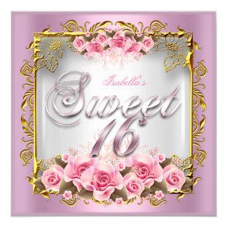 """Fiesta de cumpleaños rosada del oro blanco de los invitación 5.25"""" x 5.25"""""""