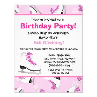Fiesta de cumpleaños rosada del patinaje de hielo anuncios personalizados