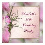 Fiesta de cumpleaños rosada elegante de la magnoli invitacion personal