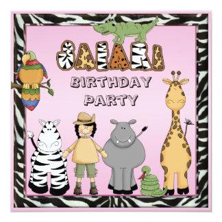 """Fiesta de cumpleaños rosada elegante de los invitación 5.25"""" x 5.25"""""""