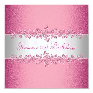Fiesta de cumpleaños rosada elegante de los rosas invitación 13,3 cm x 13,3cm