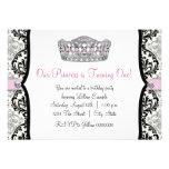 Fiesta de cumpleaños rosada elegante de princesa F Invitaciones Personalizada