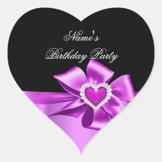 Fiesta de cumpleaños rosada elegante del corazón c etiqueta