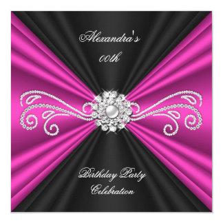 """Fiesta de cumpleaños rosada elegante del diamante invitación 5.25"""" x 5.25"""""""