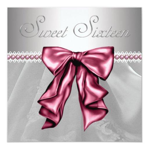 """Fiesta de cumpleaños rosada elegante del dulce 16 invitación 5.25"""" x 5.25"""""""