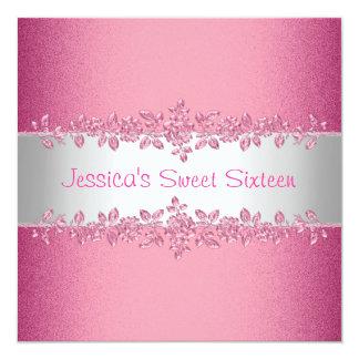 Fiesta de cumpleaños rosada elegante del dulce invitación 13,3 cm x 13,3cm