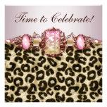 Fiesta de cumpleaños rosada elegante del leopardo  comunicado