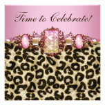 Fiesta de cumpleaños rosada elegante del leopardo  anuncios