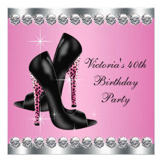 Fiesta de cumpleaños rosada elegante elegante del anuncios