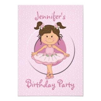 """Fiesta de cumpleaños rosada linda de la bailarina invitación 5"""" x 7"""""""