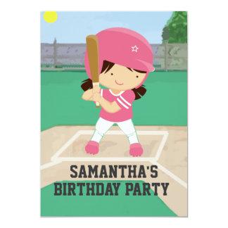 Fiesta de cumpleaños rosada linda del chica del invitaciones personales