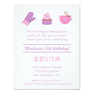 Fiesta de cumpleaños rosada púrpura de la hornada invitación 10,8 x 13,9 cm