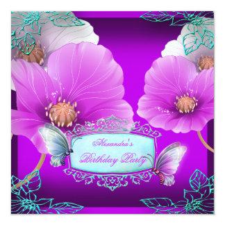 Fiesta de cumpleaños rosada púrpura de la mariposa