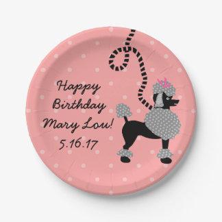 Fiesta de cumpleaños rosada retra del negro 50s de plato de papel de 7 pulgadas