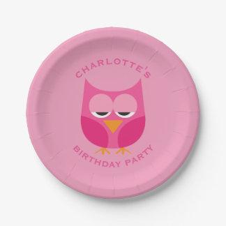 Fiesta de cumpleaños rosada soñolienta linda del platos de papel