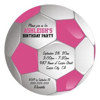 Fiesta de cumpleaños rosada y blanca del balón de invitación 13,3 cm x 13,3cm