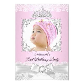 """fiesta de cumpleaños rosada y de plata de princesa invitación 3.5"""" x 5"""""""