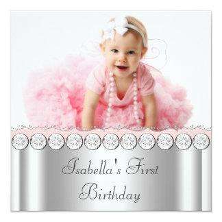 Fiesta de cumpleaños rosada y gris elegante de la comunicados personales