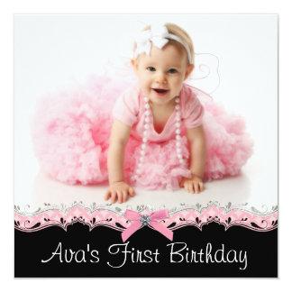 Fiesta de cumpleaños rosada y negra de la foto de anuncio