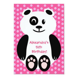 Fiesta de cumpleaños rosada y púrpura de la panda invitación 12,7 x 17,8 cm
